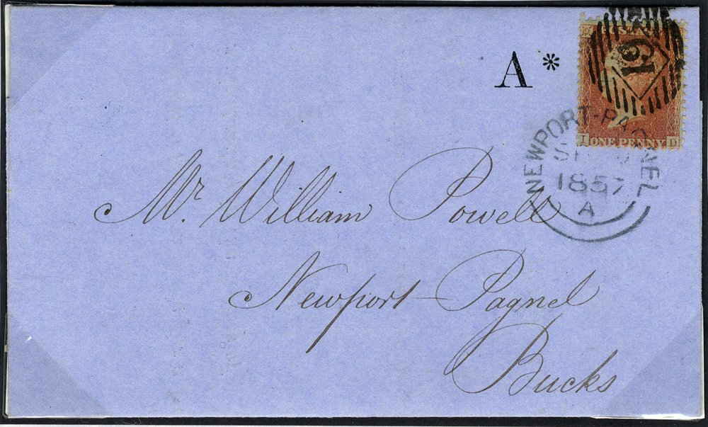 1857 1d Stars cover tied Newport Pagnel c.d.s.