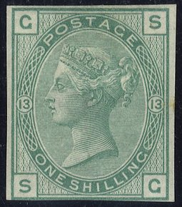 1876 1s green Pl.13 Wmk Spray IMPRIMATUR