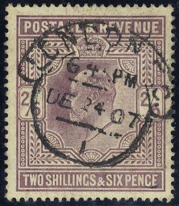 1905 2/6d pale dull purple London hooded circle SG261