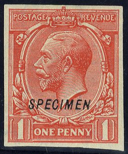 1912 Royal Cypher 1d SPECIMEN Imperforate SGN16s