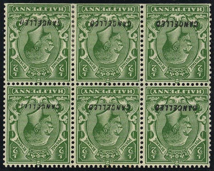 1924 ½d booklet pane optd CANCELLED SGN33w