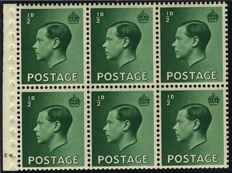 1936 ½d booklet pane Cyl E4