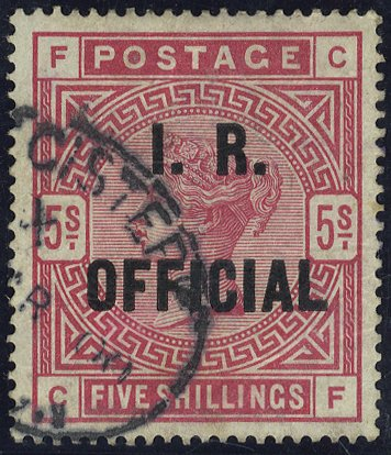 1890 I.R Official 5s rose VFU SGO9