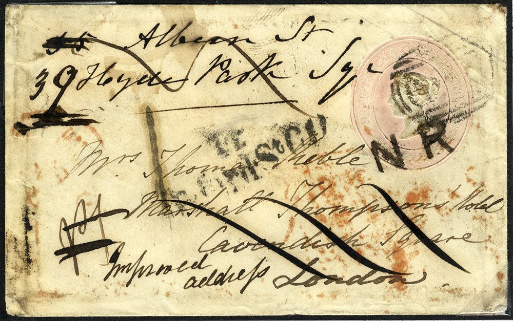 1846 1d pink envelope re-directed