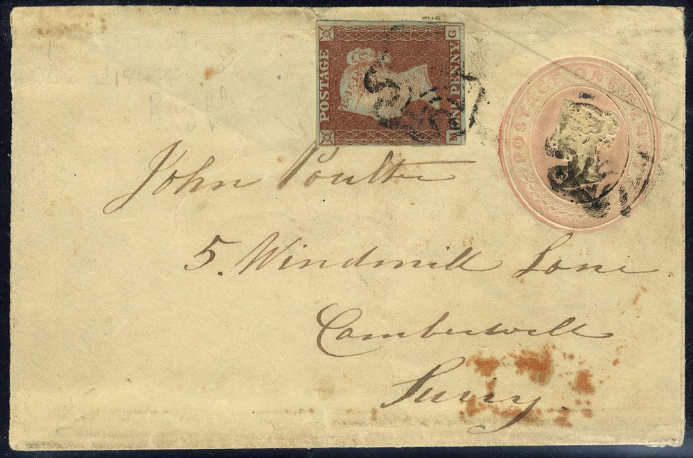 1843 1d pink uprated envelope