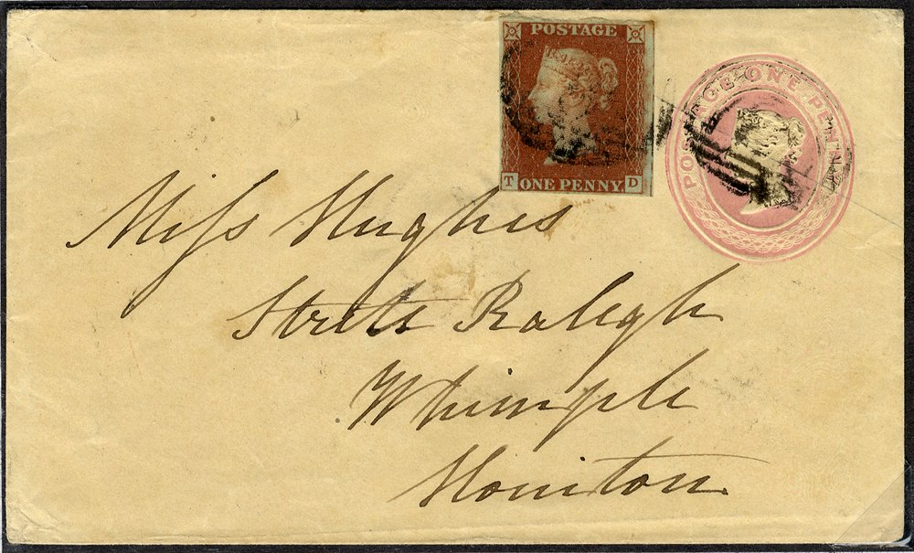 1847 1d pink uprated envelope