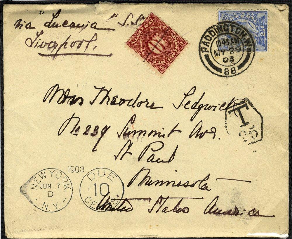 1902 KEVII 2½d + USA 10c Due cover to Minnesota