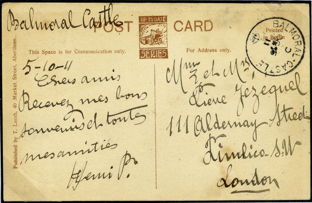 1911 postcard with Balmoral Castle postmark