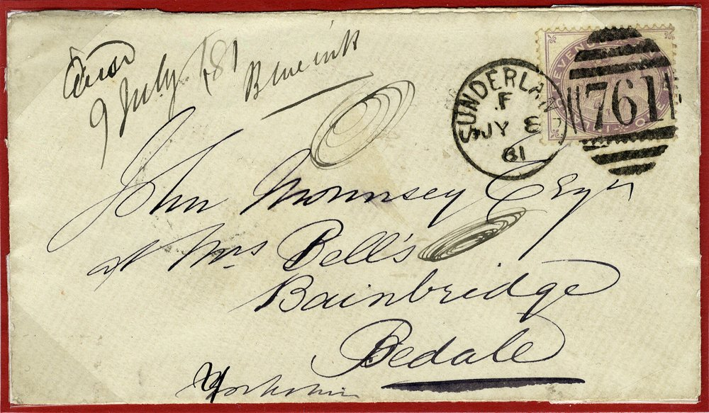 1881 1d fiscal on envelope to Bedale