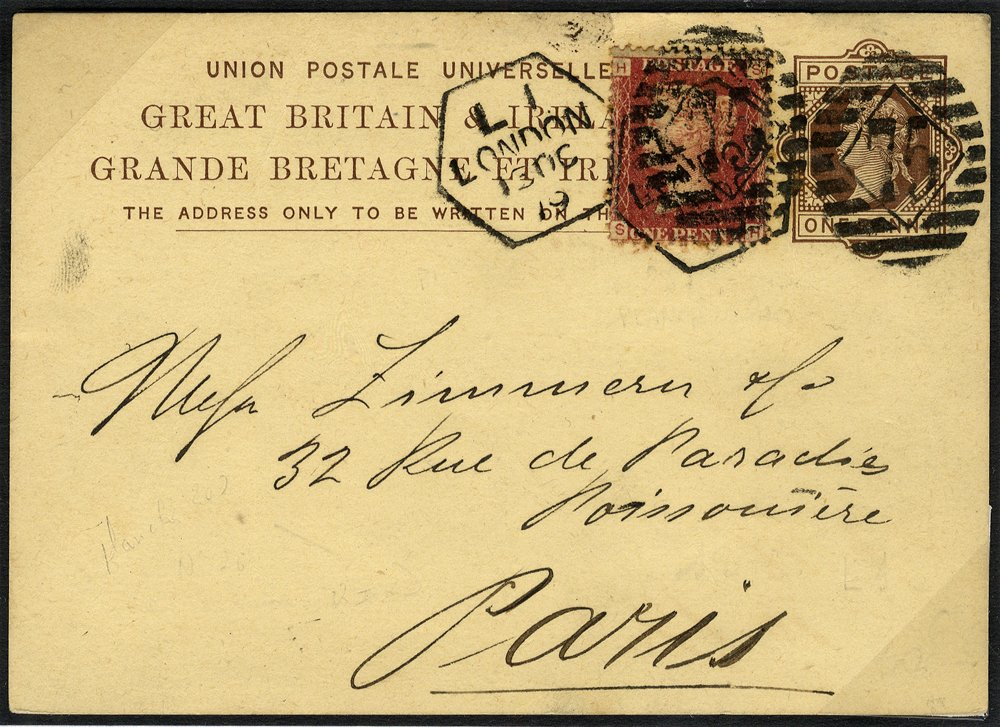 1879 1d card uprated 1d red to Paris