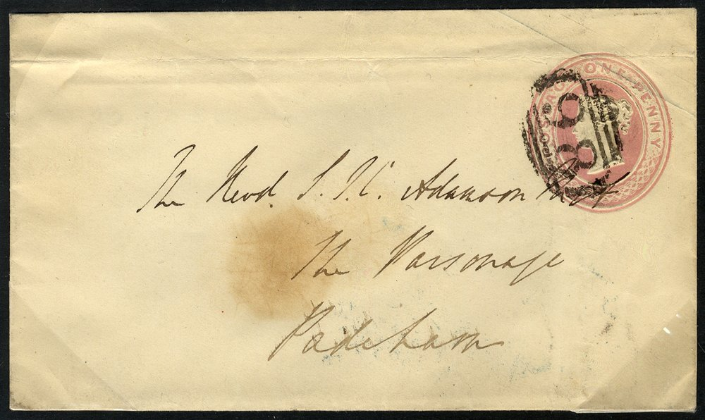 1849 1d pink enveope Whalley undated circle