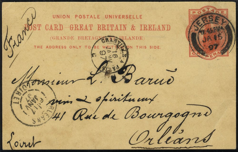 1894 & 1897 1d postcards Jersey to France