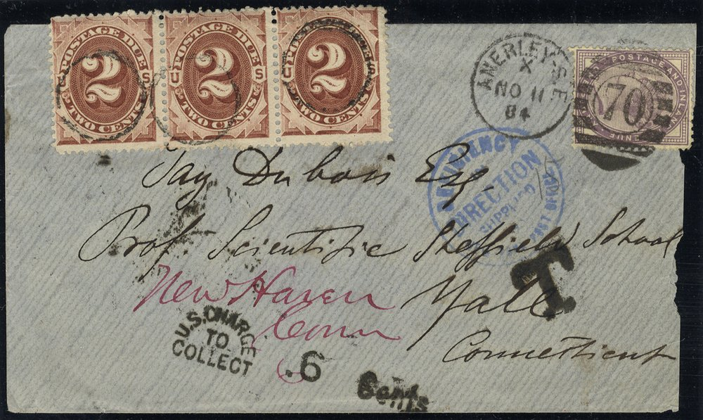 1884 cover to USA with US Postage Dues