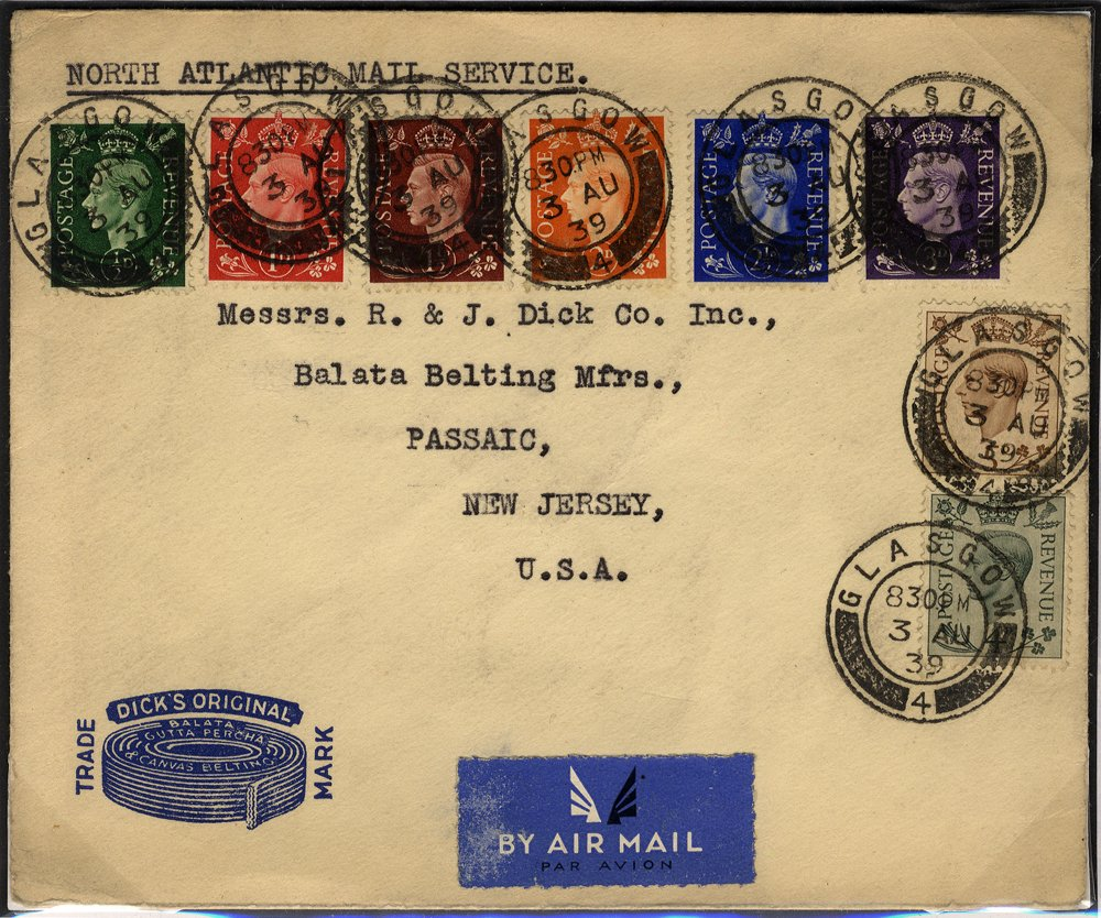 1939 Advertising multi franked envelope from Glasgow to New Jersey, USA