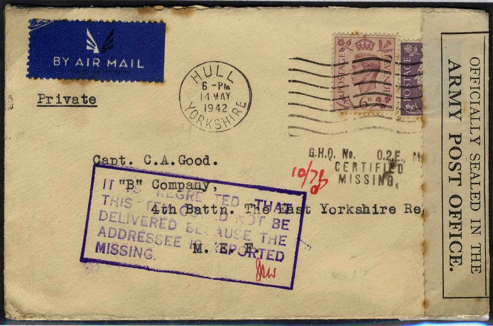 1942 Officially sealed envelope - addressee reported missing