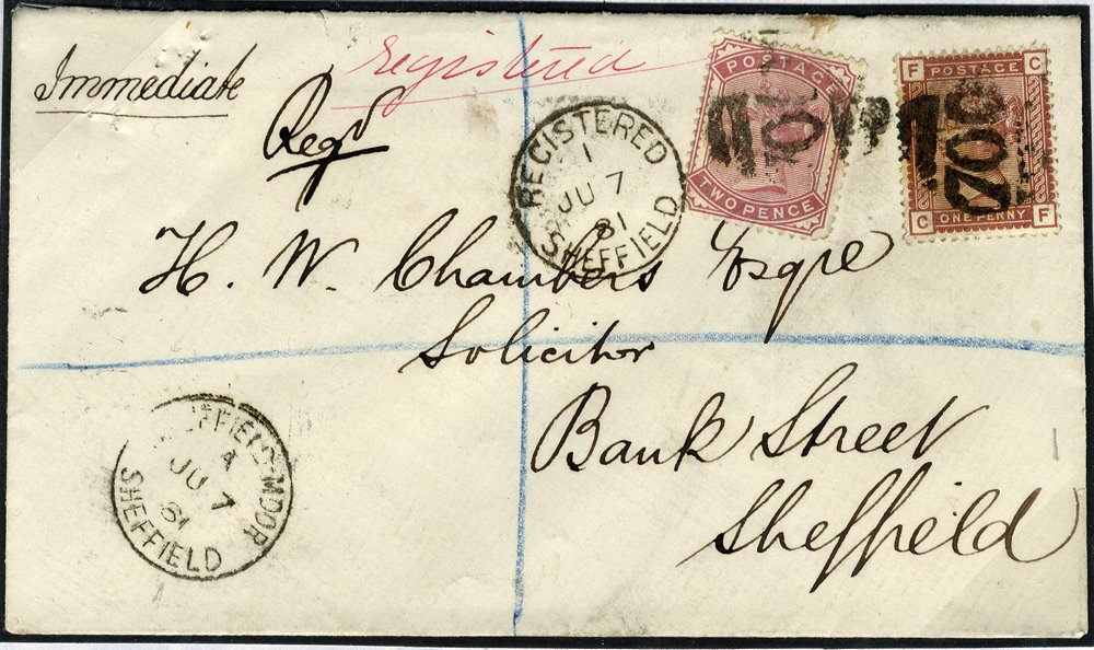 1881 1d & 2d SG166 & SG168 registered cover