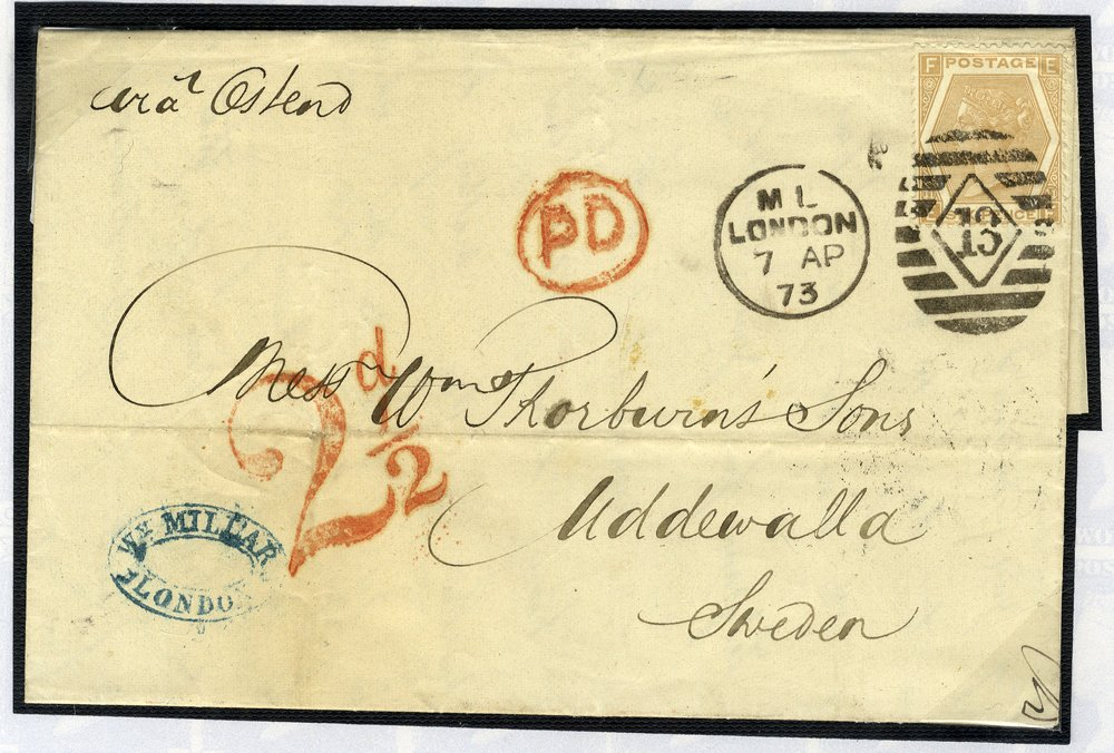 1872 6d SG123 on cover to Sweden