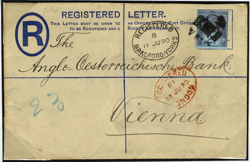 1890 registered envelope to Vienna