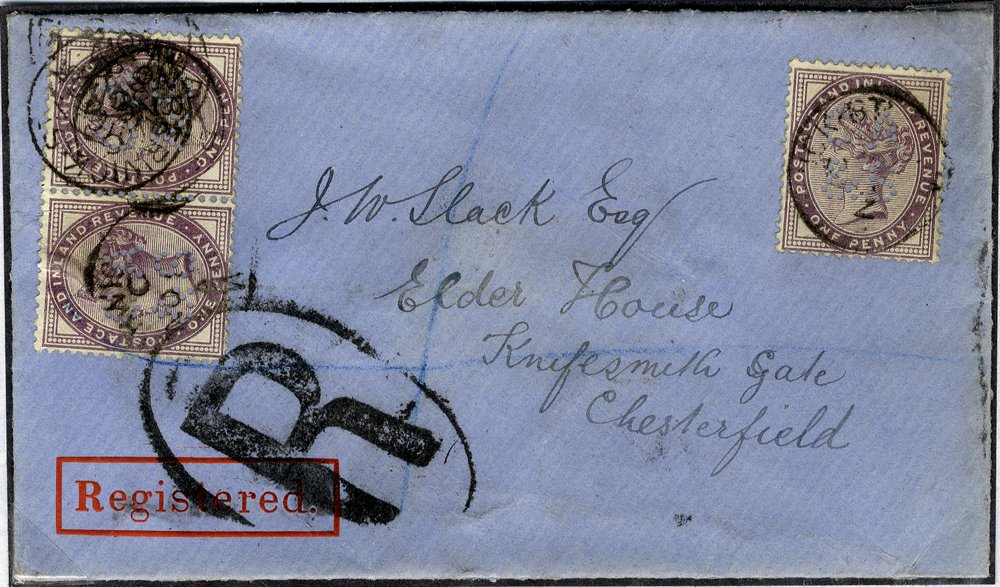 1881 registered envelope London to Chesterfield