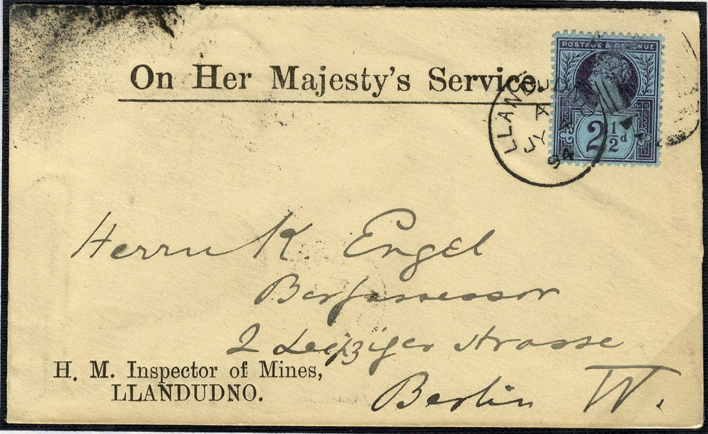 1887 OHMS envelope Llandudno to Berlin
