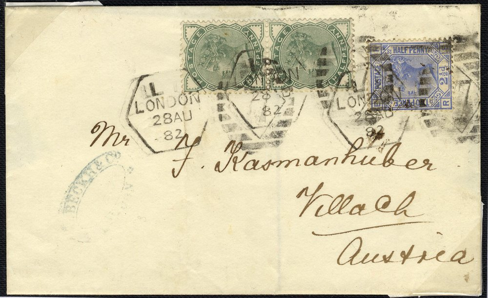 1881 ½d pair SG165 & 2½d SG164 on cover to Austria