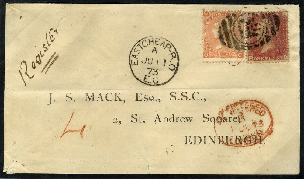 1873 registered cover Eastcheap to Edinburgh