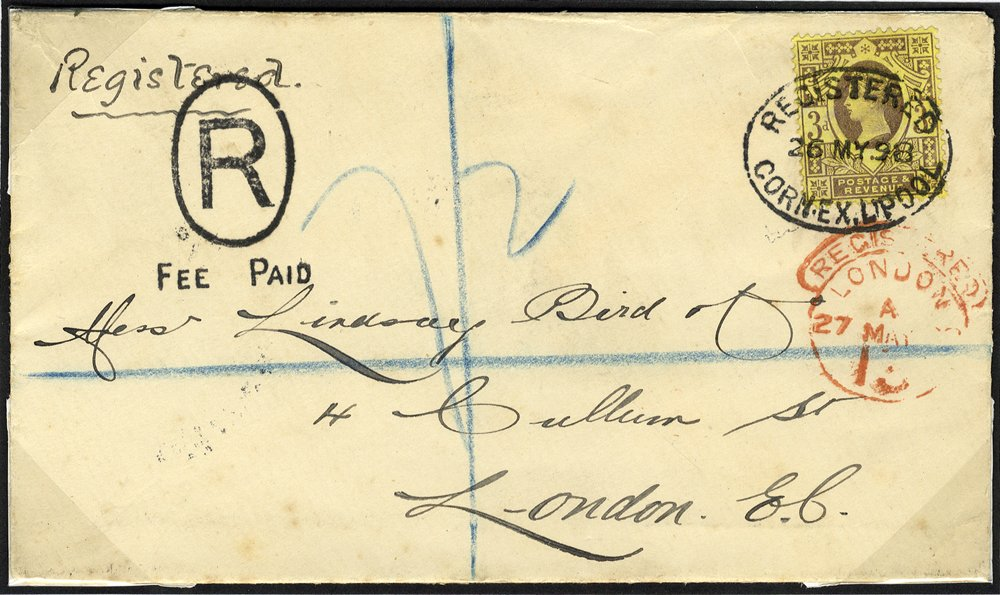 1898 registered envelope Liverpool to London