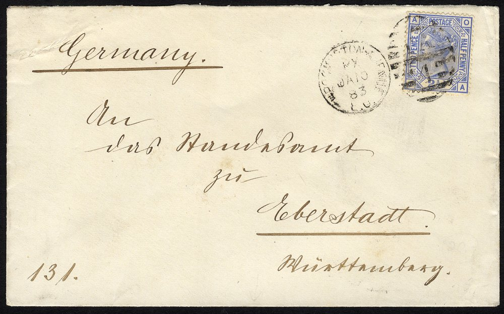 1881 cover from German Consulate London to Germany