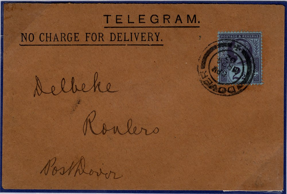 1902 Telegram Dover to Roulers, France