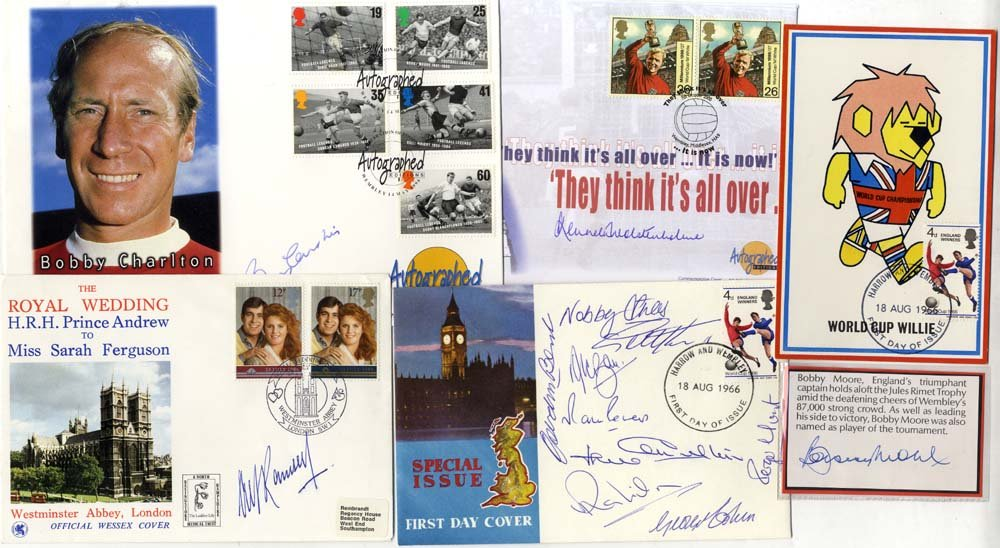 1966 World Cup Winners - collection comprising all 11 signatures plus manager & commentator