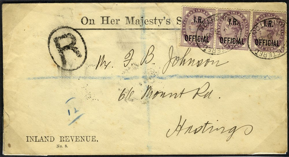 1901 OFFICIAL envelope, Brighton to Hastings, franked 1d lilac I.R OFFICIAL strip of three