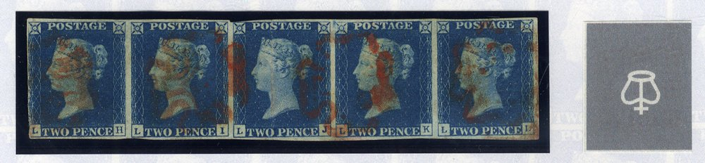 RARE - INVERTED WMK STRIP OF FIVE Plate 1 LH-LL horizontal strip, red MC cancellations. Extremely rare. Cat. £30,000 as five singles.