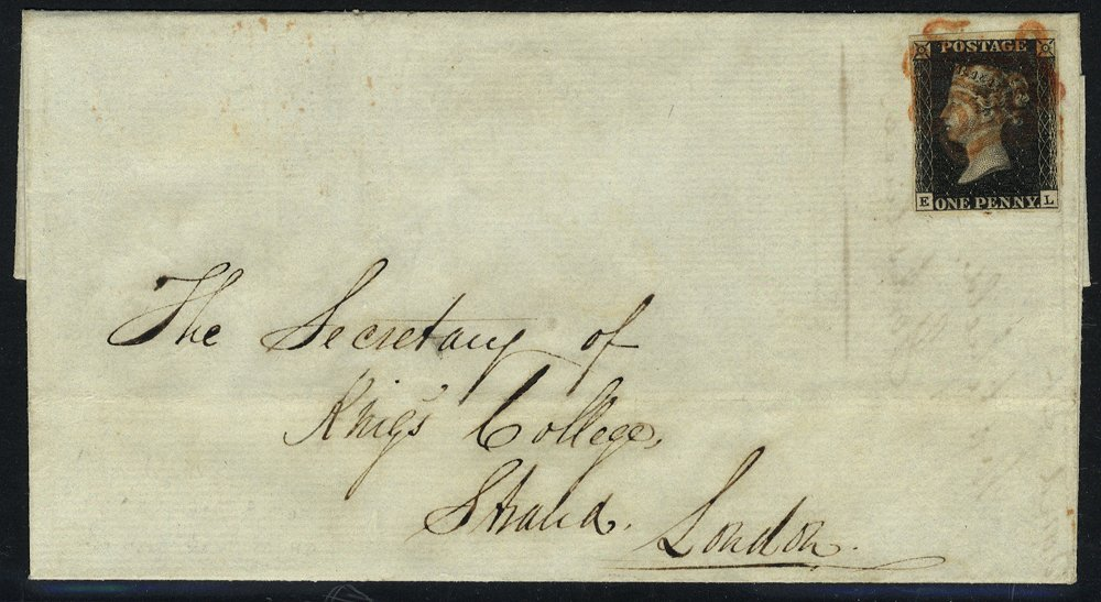 1840 cover from Leeds to London - Pl.5 EL, Leeds red Maltese Cross