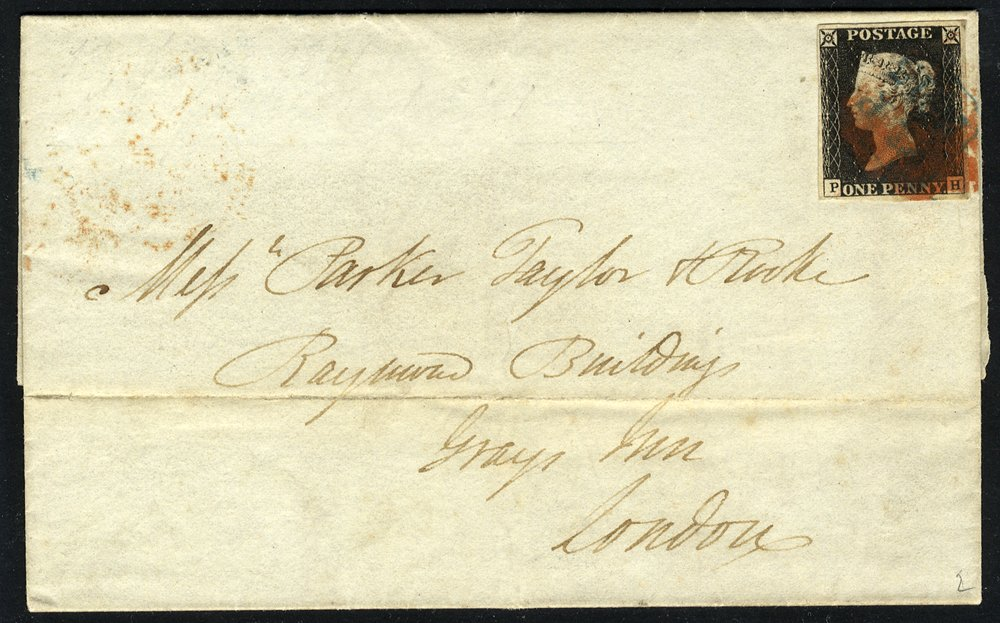 1841 cover from Handsworth to London - Pl.2 PH, blue boxed Handsworth 'PyP' marking