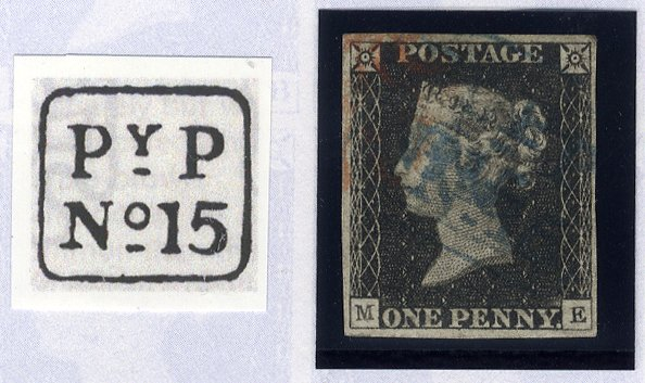 1840 1d black - Plate 2 ME (Handsworth 'PyP' hand stamp)