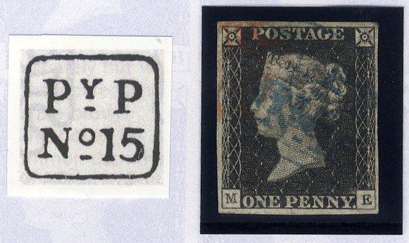 1840 1d black - Plate 2 ME (Handsworth 'PyP' hand stamp)