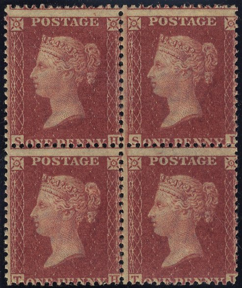 1861 1d rose red block of four - PL.50