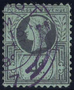 1887 Jubilee Forgery, 2½d design denominated 4d, cancelled 'Belfast' double ring c.d.s. in violet