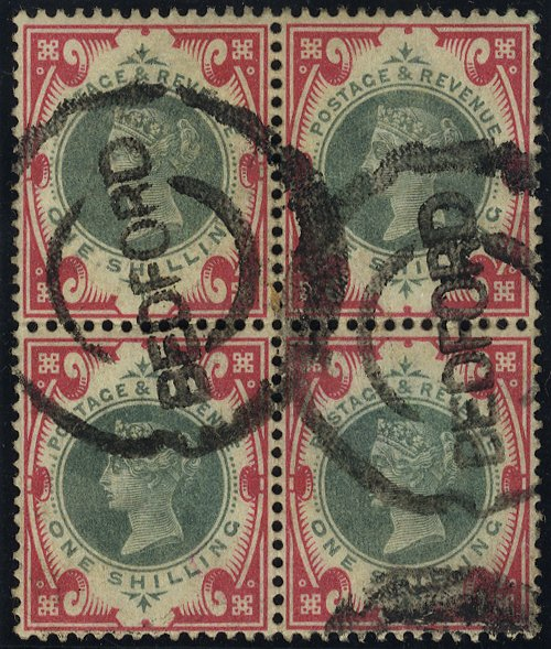 1900 1s green & carmine block of four, Bedford double ring cancels