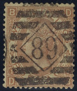 1880 2s brown DB, fine used, barred oval numeral '89' of the London West District Office