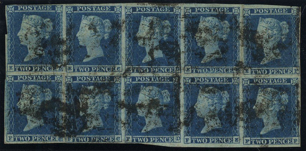 Plate 4 EB-FF Inverted Wmk block of ten. VERY RARE MULTIPLE