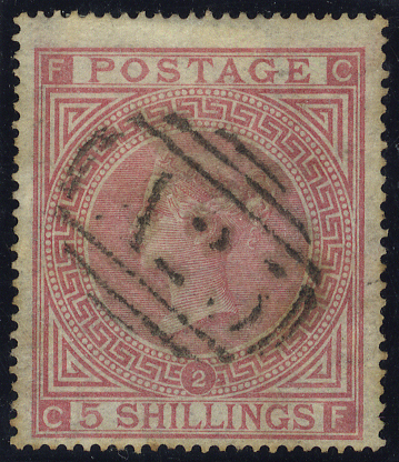 MALTA 1867 5s rose Pl.2, barred numeral of uneven impression but clearly 'A25'