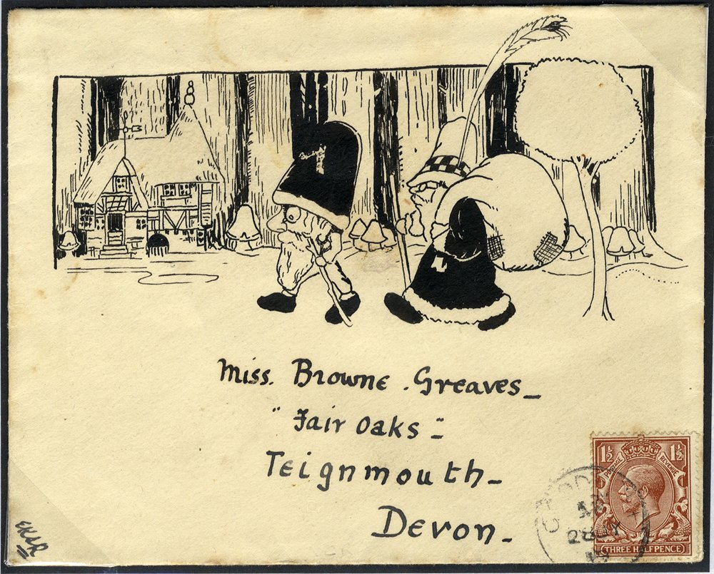 1919 envelope to Teignmouth, franked KGV 1½d showing pen & ink illustration.