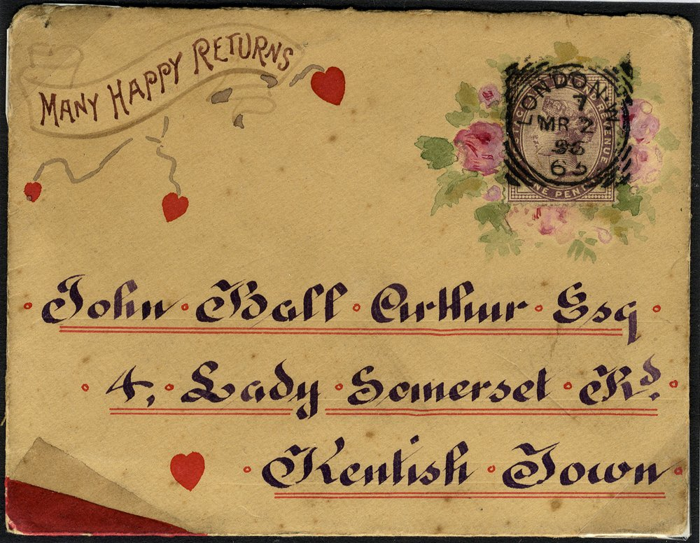 1896 Greetings envelope used locally in London, franked 1d lilac Die II with a frame of roses, tied London squared circle