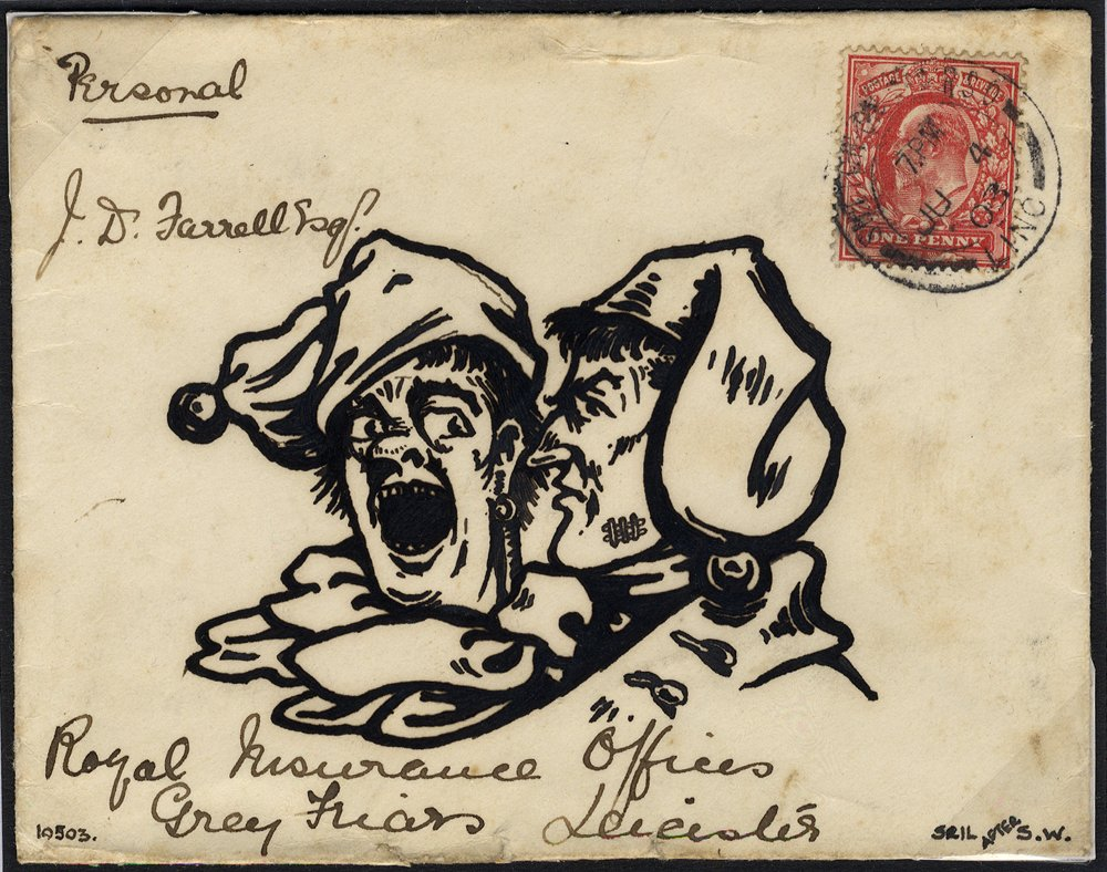 1903 envelope to Leicester, franked 1d Edward showing head & shoulders of two clowns