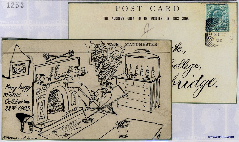 1903 PPC to Cambridge, pen & ink illustration of gentleman relaxing in a chair
