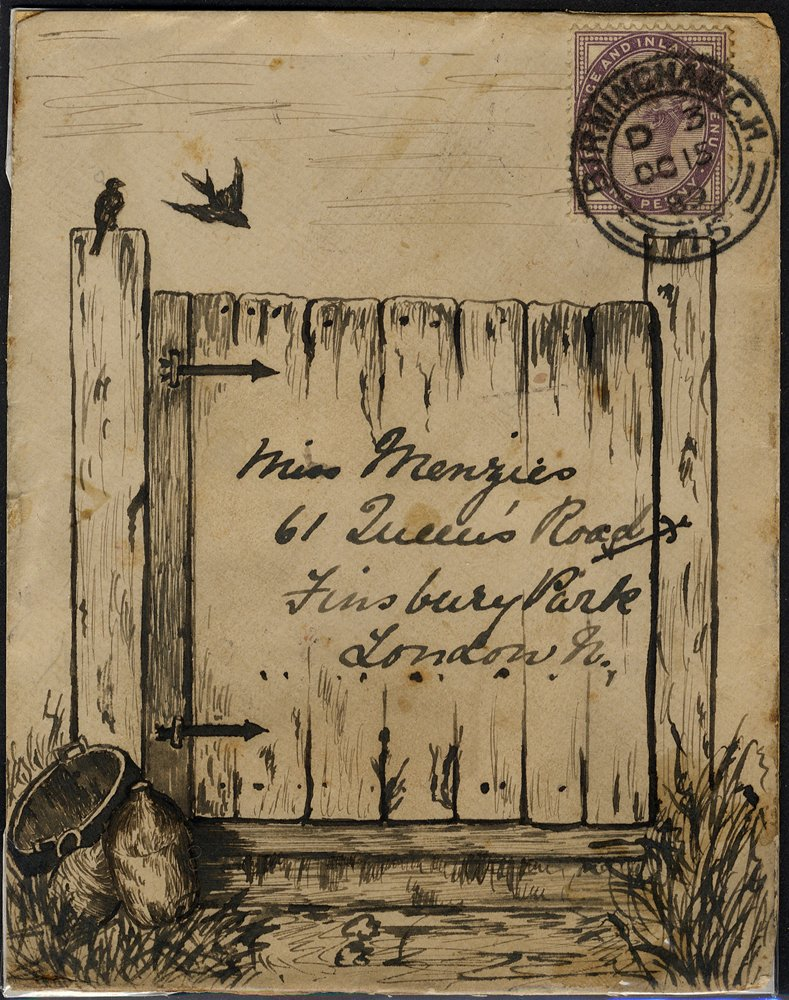 1889 hand illustrated pen & ink envelope front showing a garden gate, from Birmingham to London.