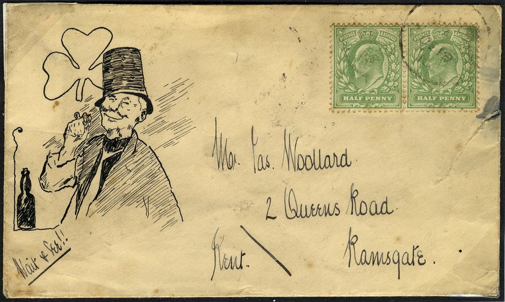 1910 cover to Ramsgate showing pen & ink illustration of an Irishman (faults).