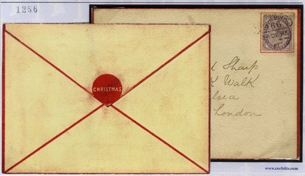 1883 envelope printed for Christmas cards with a red seal, franked 1d lilac Die II, tied hooded c.d.s.