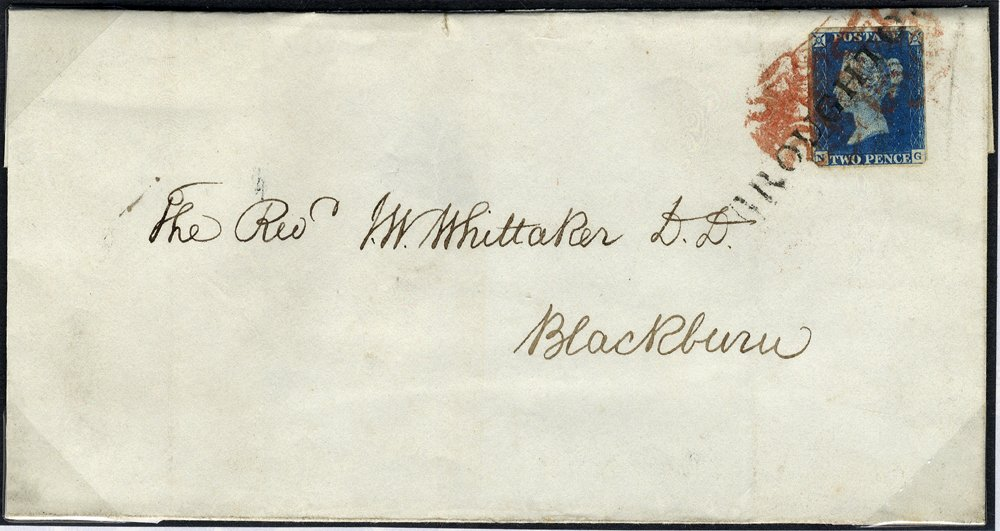 Undated cover to Blackburn, franked Pl.1 NG, two red MC's & tied by s/line BROUGHTON in black